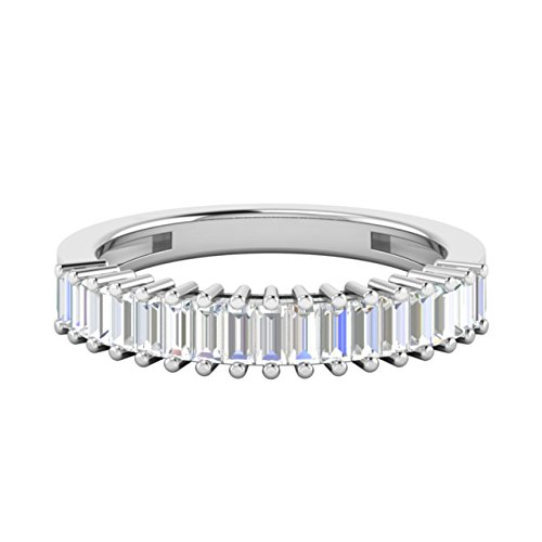 0.6 Carat Baguette Cut Genuine VS Diamond Half Eternity Womens Wedding Band / Anniversary Ring in 18Ct Solid White Gold (H)