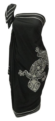 La Leela Designer Chain Stitched Embroidered Black Beach Hawaiian Swim Sarong Pareo Wrap