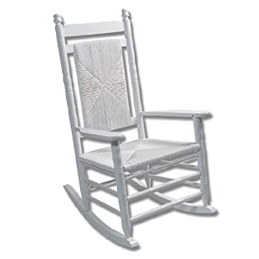 White Woven Seat Rocking Chair - RTA