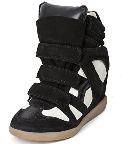 isabel-marant-bekett-womens-velcro-snap-high-top-leather-sneakers-37-black-and-beige