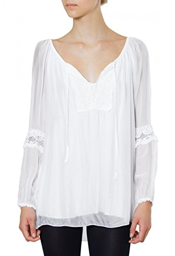 Caspar Womens Elegant Silk Blouse With Crochet Lace Application Made In Italy - Blu005, Farbe:Weiss