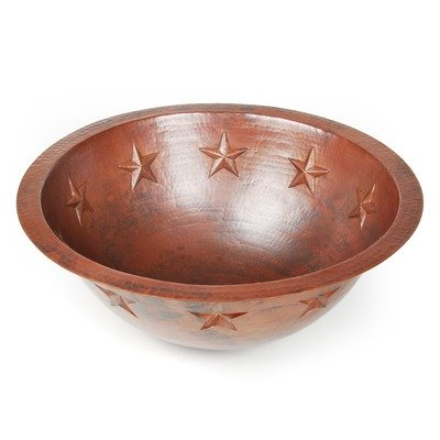 Texas Star Round Copper Undermount Sink, Dark Smoke Copper, Rolled