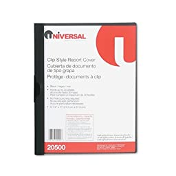 Plastic Report Cover w/Clip, Letter, Holds 30 Pages, Clear/Black, Sold as 1 Each by Universal????