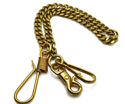 Multiple Styles Solid Brass Biker Trucker Pants Keychain Key Jean Wallet Chain Key Ring Belt Hook Key Buckle with Fine Snap Hook &Split Ring (Fish Hook+Half round chain+Retro Snap Hook) (Solid Brass Split Ring compare prices)