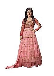 Sk Creation Rimi Sen Light Pink Neck Embroidered Semi Stitched Floor Length Anarkali Suit With Designer Back