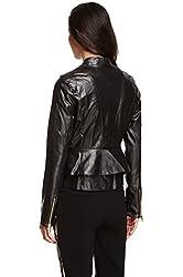 Steve Madden Women's Peplum Layered Soft Faux Leather Moto Jacket Black (Medium)