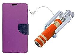 Novo Style Book Style Folio Wallet Case MicromaxUnite 3Q372 Purple + Wired Selfie Stick No Battery Charging Premium Sturdy Design Best Pocket SizedSelfie Stick