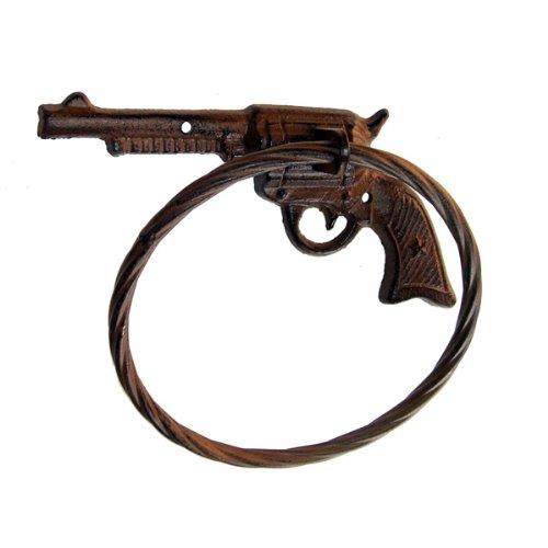 Cowboy Six Shooter Cast Iron Metal Gun Towel Ring