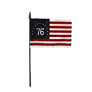 """Bennington '76 Historical Hand Held Desk Table Top Polyester Flag 4"""" X 6"""" on 10"""" Black Plastic Staff with Gold Spear Tip (12 Pack)"""