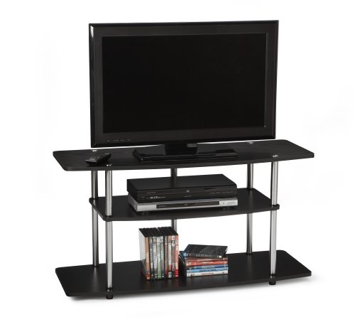 Convenience Concepts 131031 Designs-2-Go Wide 3-Tier Wood Grain TV Stand, Black