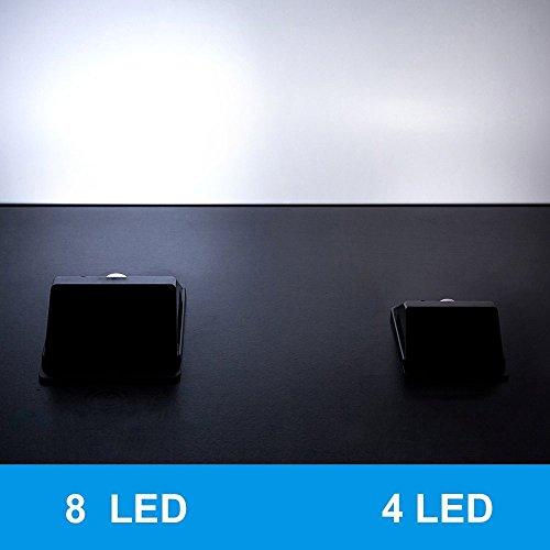 Foryee 8 Bright LED Wireless Waterproof Solar Powered Motion Sensor Light Outdoor Solar Energy ...
