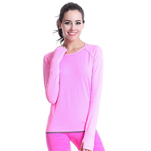 wodery Running Fitness camicie Donna Manica Lunga Ladies T-Shirt, Pink, L