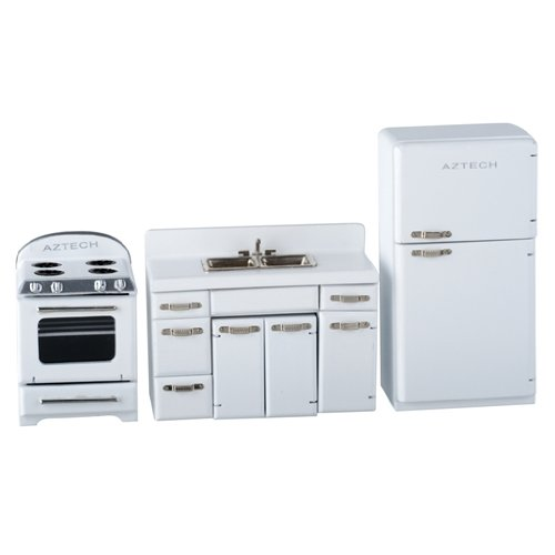 Dollhouse Miniature White 1950s 4-Pc. Kitchen Appliance Set (Doll House Kitchen Appliances compare prices)