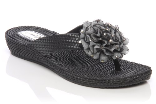 Image of Unze Women Sequin Accented Bow Thong Summer, Casual, Day, Beach Party Slipper - 286879.04/05/07 (B009MCR4G0)
