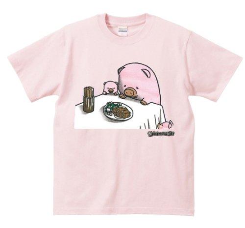 シュール共食いシリーズ ≪ ぶた vs ポーク ≫ おもしろメッセージTシャツ ORT-26005 Lサイズ ピンク