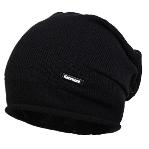 Kenmont Berretto Unisex Beanie Hat Sportivo uomo a maglia Copricapo Cap Hip-hop Cappello (Nero)