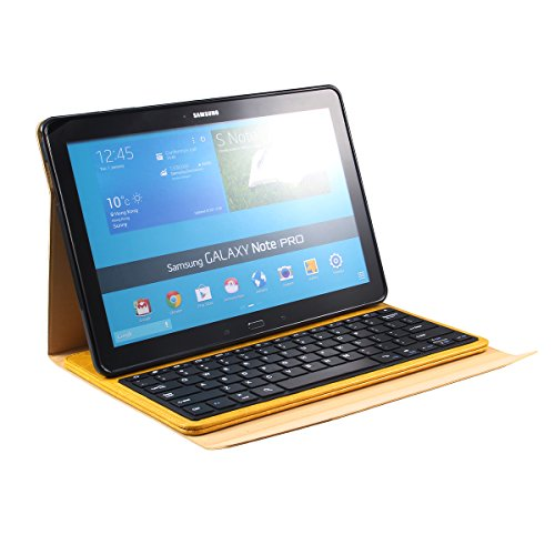 Newstyle Samsung Galaxy Note Pro & Tab Pro 12.2 Portfolio Case - Wireless Bluetooth Keyboard Cover For Galaxy Notepro & Tabpro 12.2 Inch Android Tablet - Yellow Color