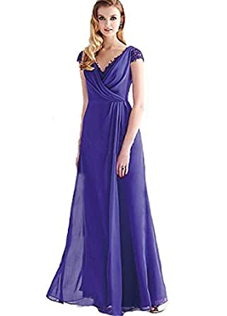 Purple v neck long empire mother of the bride for Amazon cheap wedding dresses