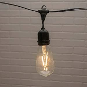 Commercial Edison Drop String Lights, ST58 Dimmable LED, 54ft Black Wire, Warm White