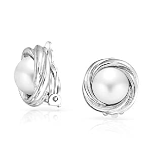Bling Jewelry cadeaux imitation White Pearl Silvertone amour nuptiale Knot Clip sur boucles