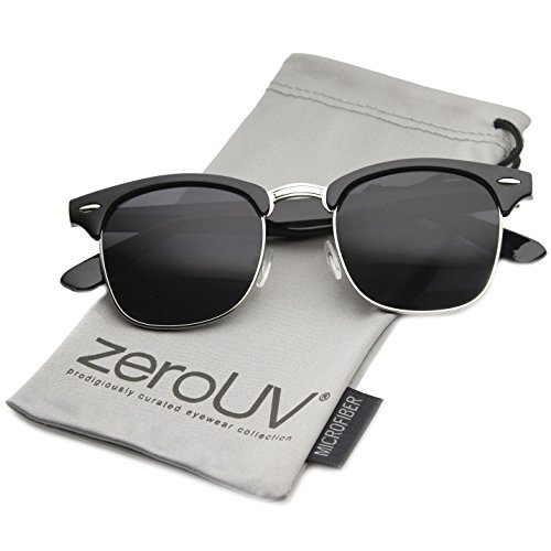 zeroUV - Premium Half Frame Horn Rimmed Sunglasses with Metal Rivets (Classic Series,Black-Silver/Smoke)