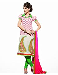 Vineberi Beautiful And Pretty Unstitched Embroidered Pink And White Chanderi Cotton Dress Material With Pink Dupatta...