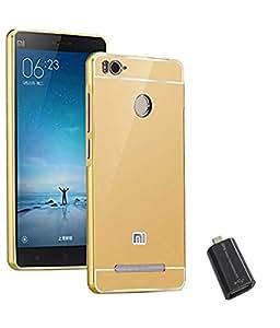 TBZ Metal Bumper Acrylic Mirror Back Cover Case for Xiaomi Redmi 3S with Micro USB OTG Connector Adapter -Golden