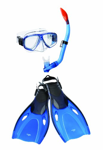 Speedo Junior Adventure Mask Snorkel Fin Set (Blue, Small/Medium)