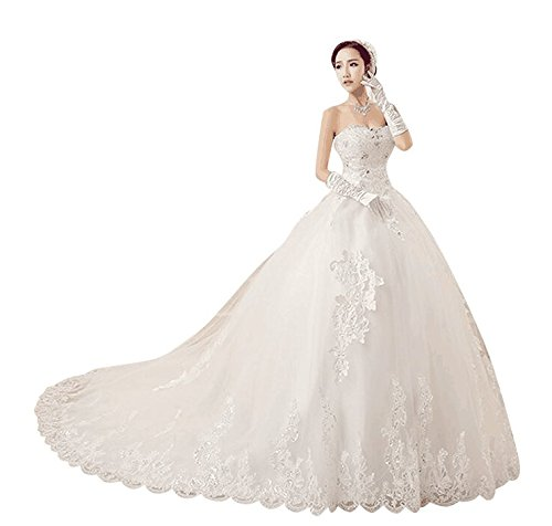 Love Dress White A Line Women Court Train Wedding Dress Us 14