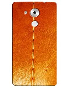 Omnam Threaded Pattern On Orange Leather Printed Designer Back Cover Case For Huawei Honor Mate 8