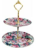 Fine China Two Tier Cookie Candy Tidbit Tray For Children's Tea Parties -English Rose