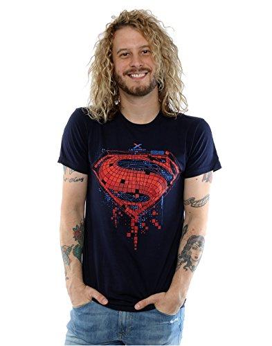 DC Comics Uomo Batman v Superman Geo Logo Maglietta Large Marina Militare