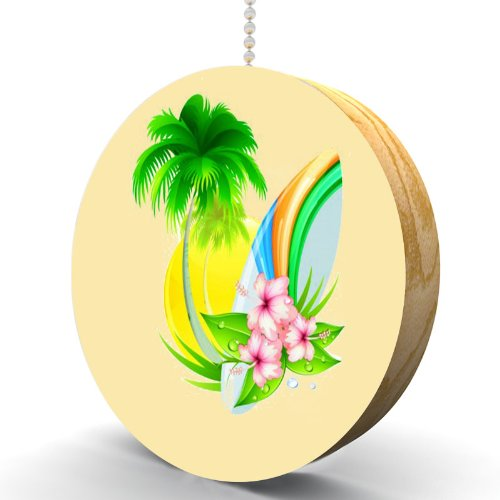 Surfboard Palm Tree And Hibiscus Hardwood Oak Fan / Light Pull