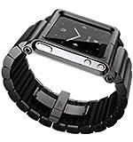 DingTool Aluminum Multi-Touch Wrist Watch Band case For Apple ipod nano 6 (Black)