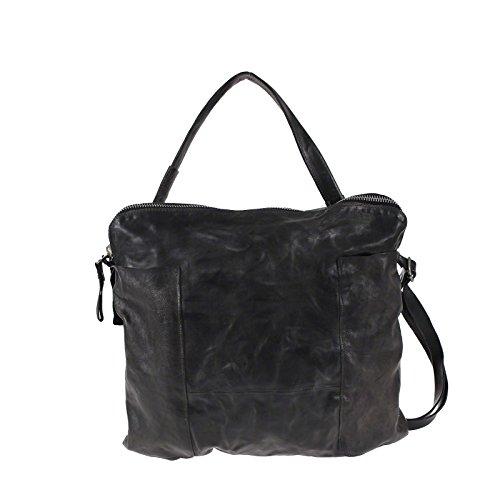 A.S.98 Airstep Shopper borsa tracolla in pelle combinazione di grande colore del grigio e nero
