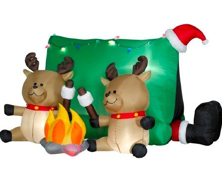 Santa Camping With Reindeer Christmas Inflatable With Free Weatherproof Cord Connector # 89541