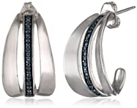 Sterling Silver Diamond and Paint Color J-Hoop Earrings from PAJ, Inc