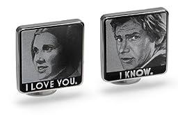 Lucas Films Star Wars Han & Leia I Love You / I Know Cufflinks - LIMITED ED