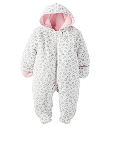Child of Mine by Carters Baby Pram Boy and Girls Sizes (0-3 Months, Girl White Leopard)