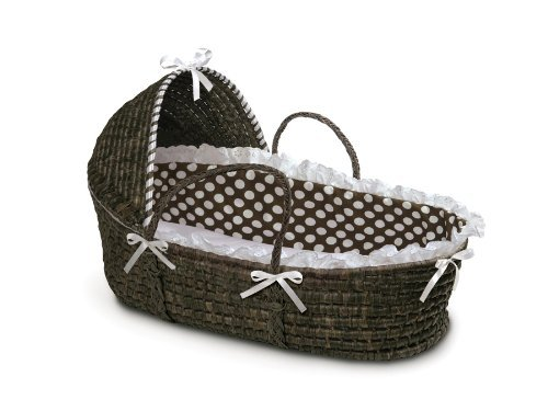 New Born, Bebe, Baby, Child Badger Basket Moses Basket with Polka Dot Hood and Bedding, Espresso/Brown