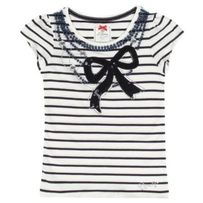 J by Jasper Conran-Girl's white and blue embellished bow t-shirt-age 11-12