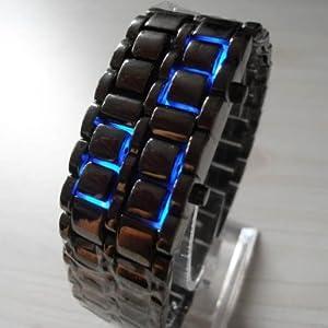 AQY Blue LED Digital Black Lava Style Wrist Watch Iron Metal Samurai Men with Box