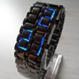 AQY Blue LED Digital Black Lava Style Wrist Watch Iron Metal Samurai Men with Box
