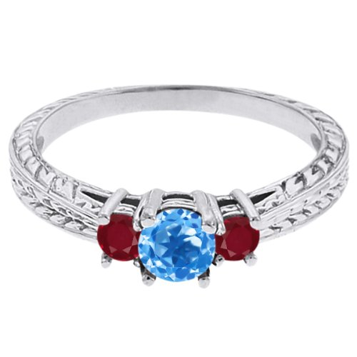 0.61 Ct Round Swiss Blue Topaz Red Ruby 18K White Gold 3-Stone Ring