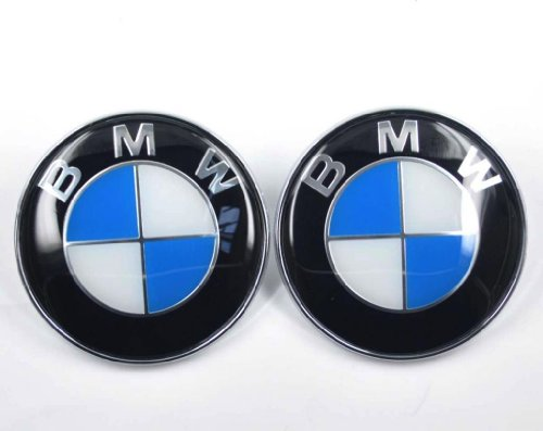BMW Blue White 82mm 3.23 inch Hood Front & Trunk Rear Emblem Badge Logo self adhesive, 2pcs (Bmw Logo Hood compare prices)