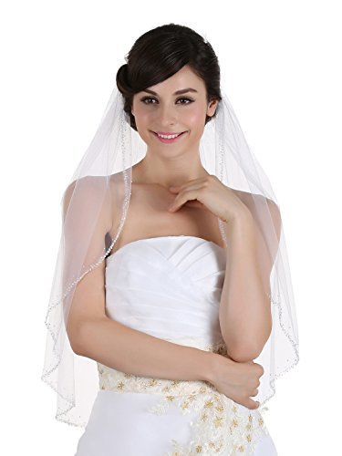 1T 1 Tier Hand Sewn Pearl Beaded Edge Wedding Veil - white Elbow Length 30