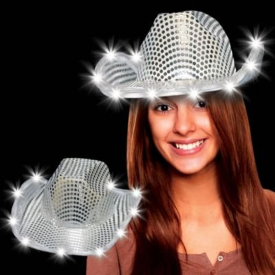 Glitz, Glitter And Bling Glitzy Silver Sequin Cowboy Hat With Led Lights