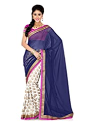 De Marca Off White And Blue Art Silk Designer G-340 Saree