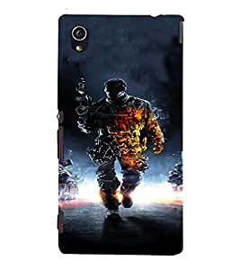 PrintVisa Army Commando Design 3D Hard Polycarbonate Designer Back Case Cover for Sony Xperia M4 Aqua