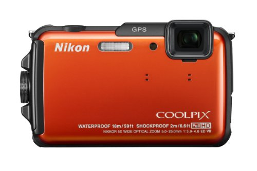 Nikon COOLPIX AW110 16 MP Waterproof Digital Camera with Built-In Wi-Fi (Orange)